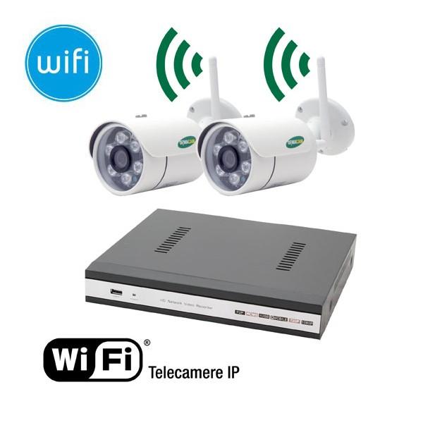 KIT wireless videosorveglianza IP - NVR 4 canali - 2 telecamere WiFi IP Megapixel ...