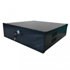 Closed metal case for DVR max 4U - lock with latch - ventilation and cable glands