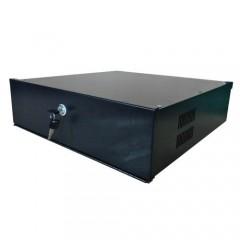Custodia in metallo chiusa per DVR max 4U - serratura con chiusura a leva - ventilazione e passacavi