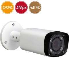 Telecamera IP PoE - 3 Megapixel / Full HD - Ottica motorizzata 2.7-12mm - microSD - IR 60m