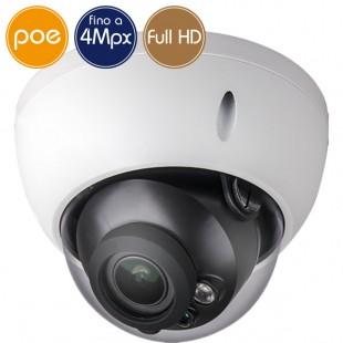 Telecamera dome IP PoE - 4 Megapixel / Full HD - motorizzata 2.7-12mm - microSD - IR 30m