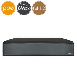 Videoregistratore IP NVR PoE - 8 telecamere - 8 Megapixel / Full HD - VGA HDMI
