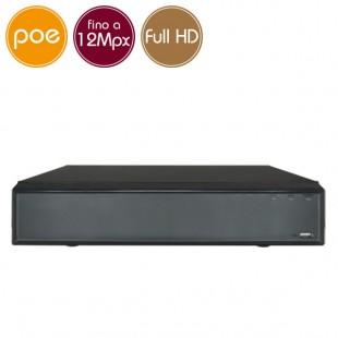 Videoregistratore IP NVR PoE 16 - 12 Megapixel / Full HD - ALLARMI RAID Ultra HD 4K