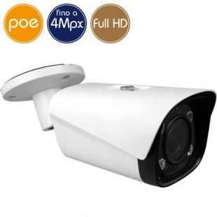 Telecamera IP PoE - 4 Megapixel / Full HD - Ottica motorizzata 2.7-12mm - microSD - IR 60m