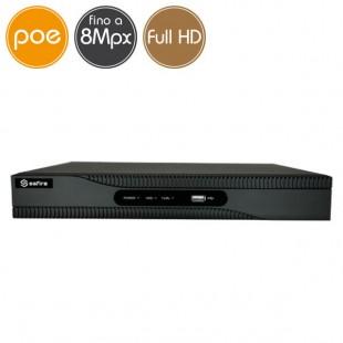 Videoregistratore IP NVR PoE SAFIRE 4 telecamere - 8 Megapixel / Full HD - Ultra HD 4K