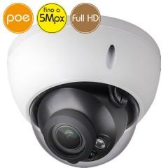 Telecamera dome IP PoE - 5 Megapixel / Full HD - motorizzata 2.7-12mm - microSD - IR 30m
