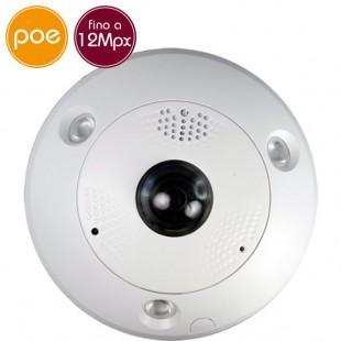 Telecamera Fisheye IP PoE - 12 Megapixel - ePTZ - microSD - IR 15m