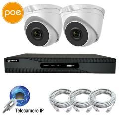 KIT videosorveglianza IP PoE - NVR 4 canali - 2 telecamere IP 2 Megapixel