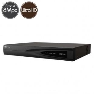 Videoregistratore HD ibrido SAFIRE - DVR 16 canali 8 Megapixel Ultra HD 4K - RAID ALLARMI